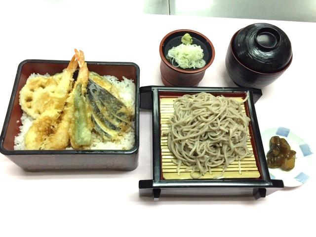 天重ミニそばセット(味噌汁・漬物付)